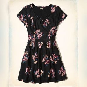 Hollister black floral dress